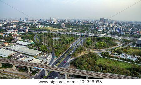 Bangkok Motorway to Suvarnabhumi Airport Srinakarin Road Pattanakarn Aerial Photography