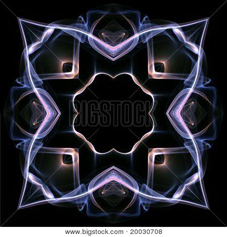 Geometric kaleidoscope design created using plumes of smoke poster