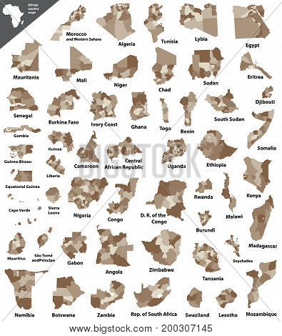 African vector isolated high detailed country map