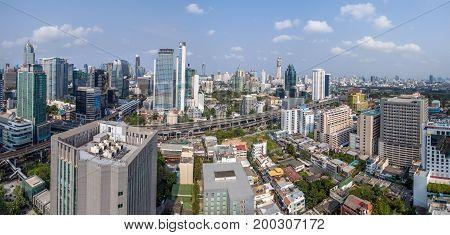 Panorama Bangkok City Nana and Sukhumvit Road Aerial Photography Thailand
