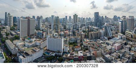 Panorama Bangkok City Nana and Sukhumvit Road Aerial Photography