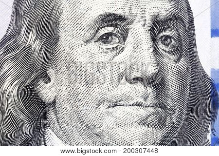 One Hundred Dollars. Benjamin Franklin portrait. USD, The United States currency.