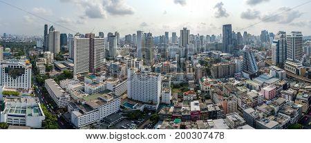 Bangkok City Panorama Nana and Sukhumvit Road Aerial Photography
