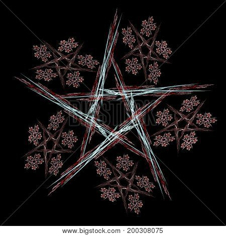 Colorful glowing pentagram pattern, abstract art for background