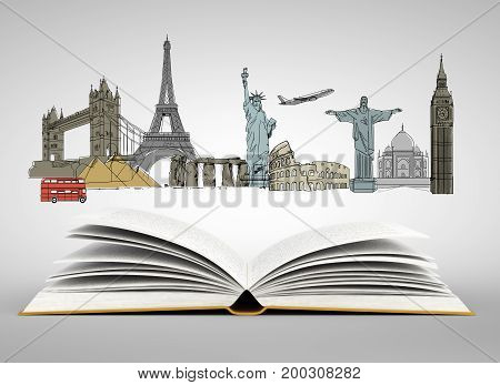 Open book with travel sketch. Holiday concept. 3D Rendering