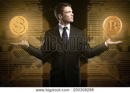 Businessman with glowing dollar and bit coins in hands on abstract circuit background. Cryptocurrency and choice concept