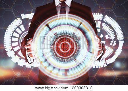 Businessman with abstract digital hologram on sunset sky background. Technology and interface concept. Double exposure