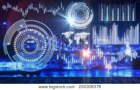 Abstract business chart hologram on blurry blue night city background. Analytics concept. Double exposure