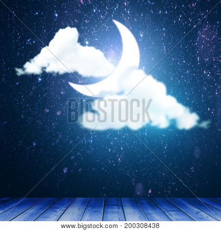 Abstract stage with clouds and moon. Performace concept