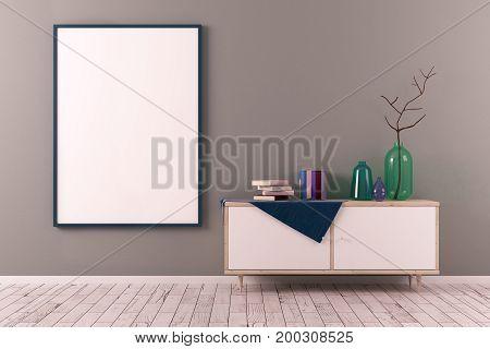 Creative Scandinavian Room With Poster