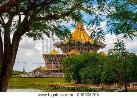 Dewan Undangan Negeri Sarawak. Sarawak State Legislative Assembly In Kuching, Sarawak, Malaysia.