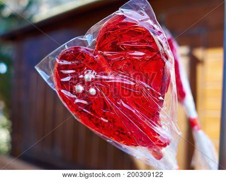 Heart shaped lolly pop made for lovers for a happy Valentine Day
