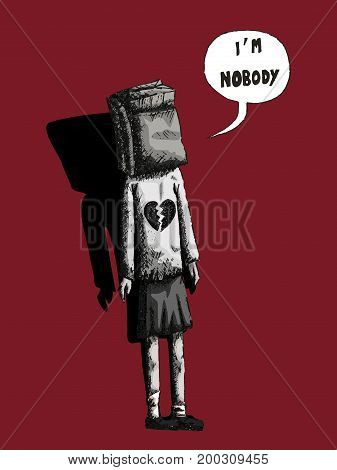 vector hand drawn illustration of a girl in black and white with a paper bag on her head and saying i am nobody on a red background