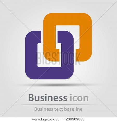 Originally created business icon with conjucted rounded square