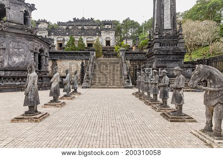 Tomb of Khai Dinh emperor in Hue Vietnam. A UNESCO World Heritage Site. Hue Vietnam