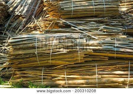 huge pile of large sawn logs bars from the forest. Harvesting firewood for the winter