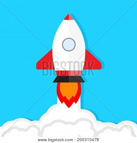 Start up launch. Rocket takes into sky vector. Start up new business starting company rocket illustration shuttle launch
