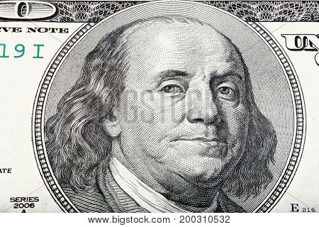 Sacked macro portrait of Benjamin Franklin. High resolution photo.