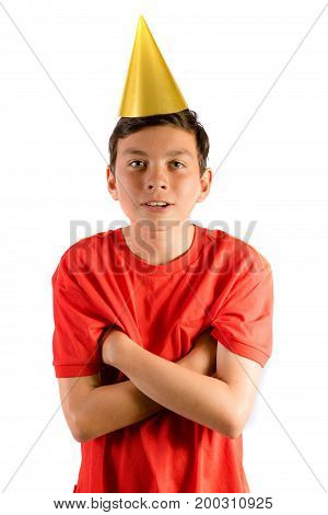 Young teenage boy isolated on white looking happy at a party