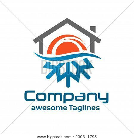Hot And Cold Symbol with roofing logo concept
