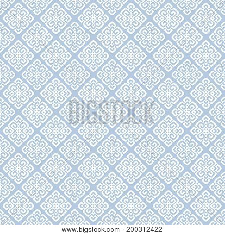 Vector illustration of white and blue seamless damask pattern