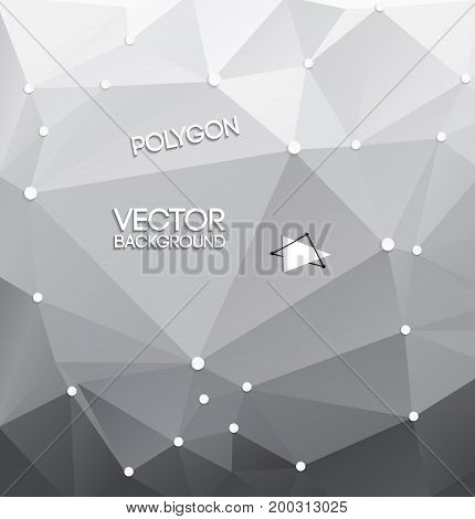 Abstract triangle polygon background with dark and light gray color gradient and lines vector illustration