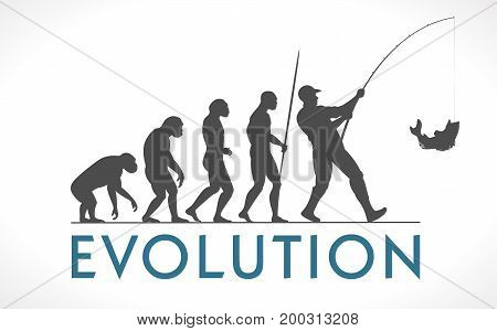 Human evolution fishing concept - vector stock illustration