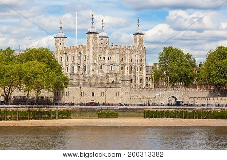 Her Majesty's Royal Palace and Fortress, more commonly known as the Tower of London, is a historic castle on the north bank of the River Thames in central London, England, United Kingdom.