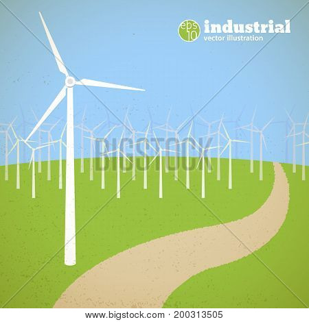 Renewable energy concept with wind turbines in field in flat style vector illustration