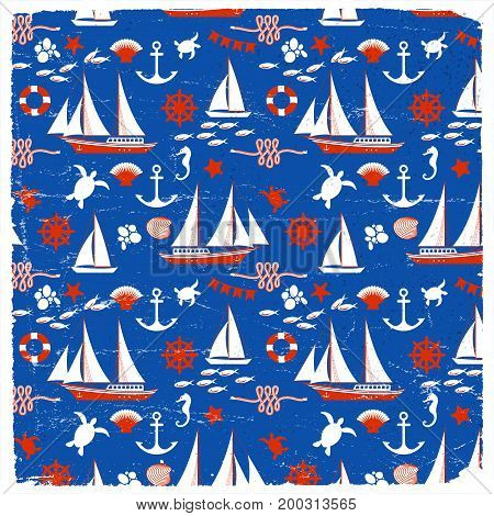 Marine seamless pattern with sea animals ship boat lifebuoy anchor wheel and rope vector illustration