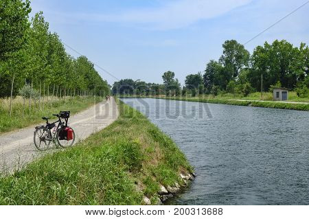 Canale Vacchelli (Cremona Lombardy Italy) a canal built in the 18th century thanks to senator Pietro Vacchelli with bank