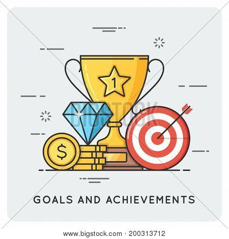 Goals and achievements. Vector flat line illustration.