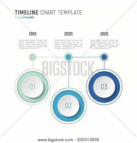 Timeline chart infographic template for data visualization. 3 steps. Vector illustration.