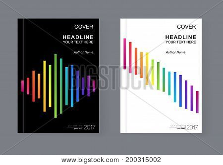 Simple Universal Covers Design with Rainbow Strips for Book Booklet Brochure Pamphlet Copybook Notebook Textbook. A4 Colorful Templates A4 for Business Presentation Annual Report. Easy Editable.