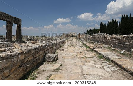 Frontinus Gate And Street In Hierapolis Ancient City, Turkey