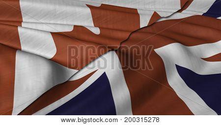 3D Illustration of Canadian and UK flag fluttering in light wind.