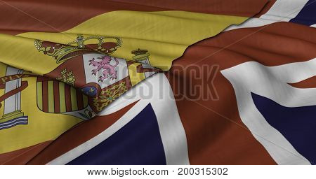 3D Illustration of Spanish and UK flag fluttering in light wind.