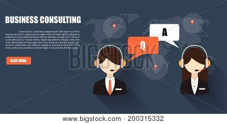 Consulting Business Advise. Businessman And Consultant With Speech Bubbles.flat Designed Vector Illu