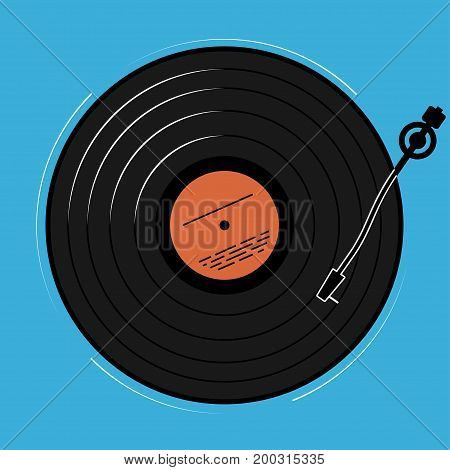 The vinyl player shown schematically and simply. A record with music for a disco or a nightclub