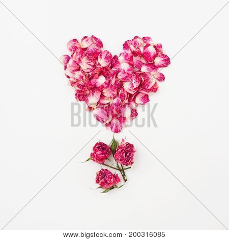 Heart Shape Of Pink Rose Petals