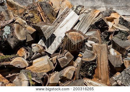 firewood stack close up at day time nicely cut