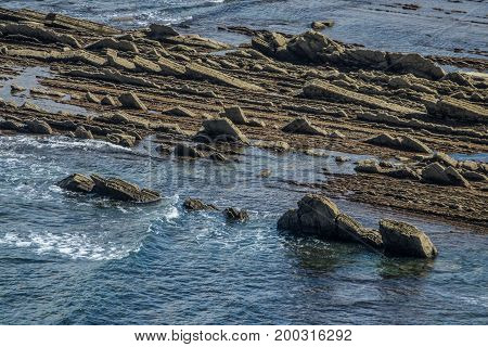 layers of flysch in low tide in Zumaia Basque Country
