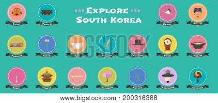 Set of icons with Korean landmarks objects architecture in vector. Gyeongbokgung palace Namsan tower food symbols as visit South Korea design elements