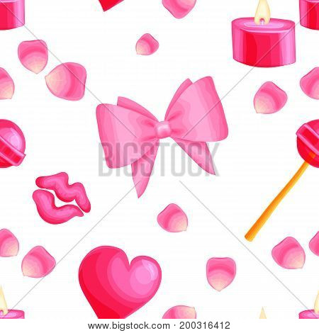 Shiny heart and colorful bows petals candles seamless pattern