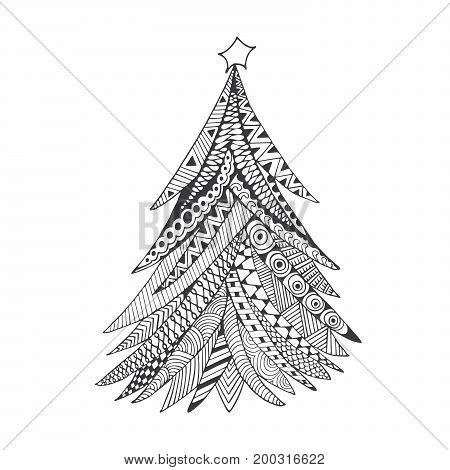 Christmas tree doodle stylized hand drawn illustration grey on white. Happy New Year card