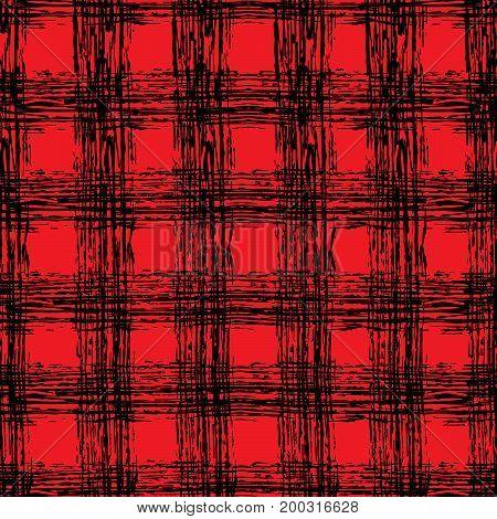 Scottish classic black and red tartan fabric. Hand drawn seamless square pattern.