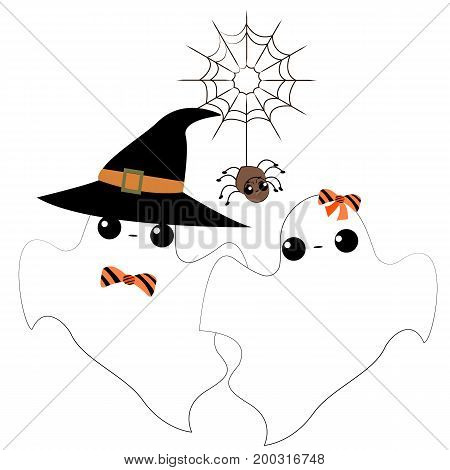 Vector flat illustration with Diy spooky ghost. Halloween. Cute ghost. Decor idea for halloween party.