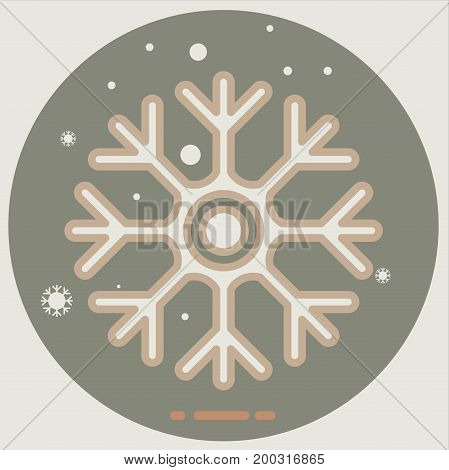 icon of cold sign depicting snowflake flat