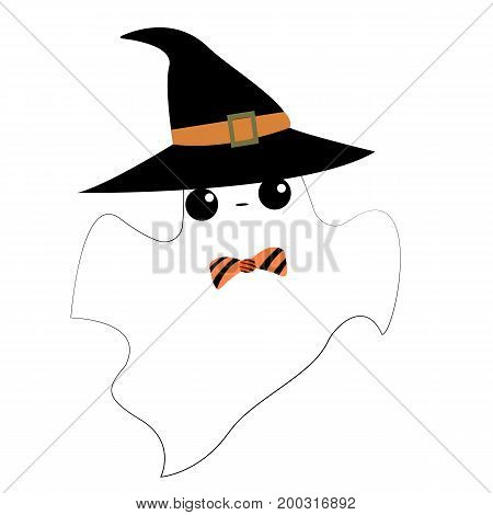Vector flat illustration with Diy spooky ghost. Halloween. Cute ghost.