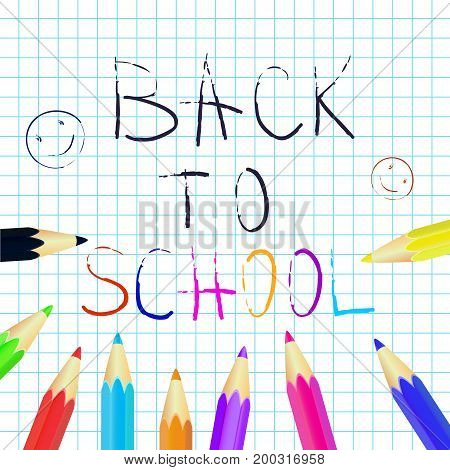 Back to school poster education background. Set of colored pencils. Vector illustration